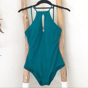 Becca High Neck Teal One Piece Swimsuit